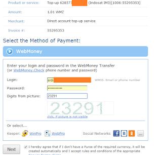 Cara Beli Pulsa via Webmoney Lengkap dengan Gambar