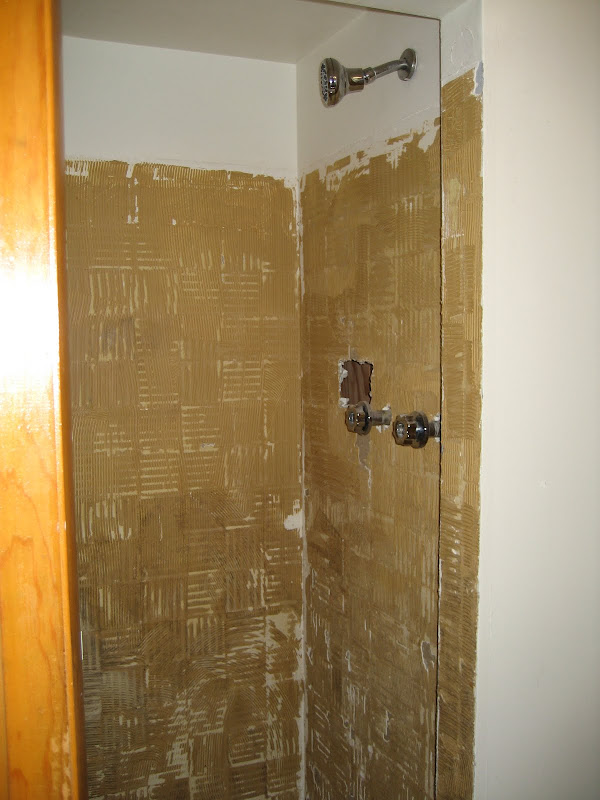 Shower stall with ugly blue tile removed. title=