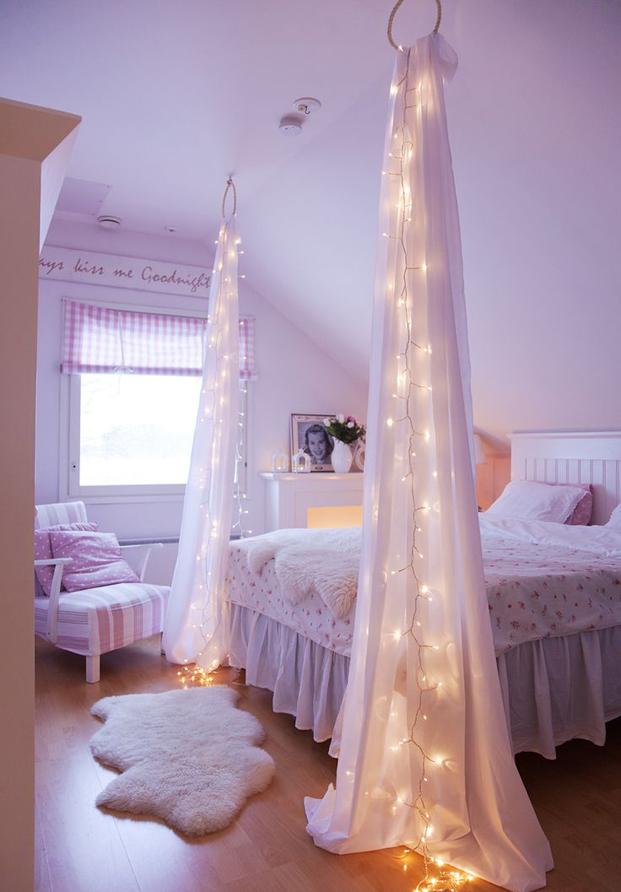 Habitacón cortinas con luces