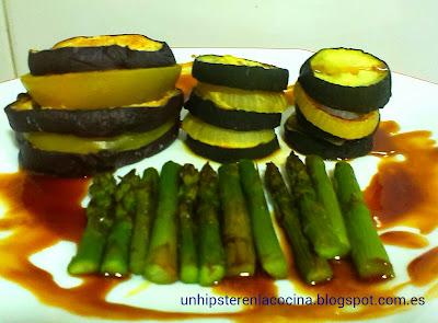 verduras asadas con reducción de módena y naranja