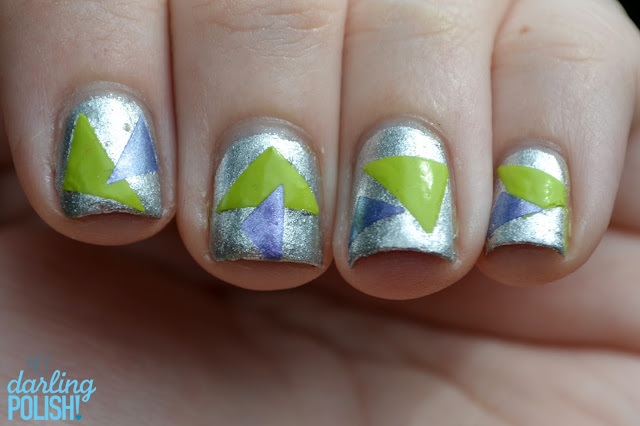 Nail Art, Triangles, Revlon Silver Dollar, Tape Decals