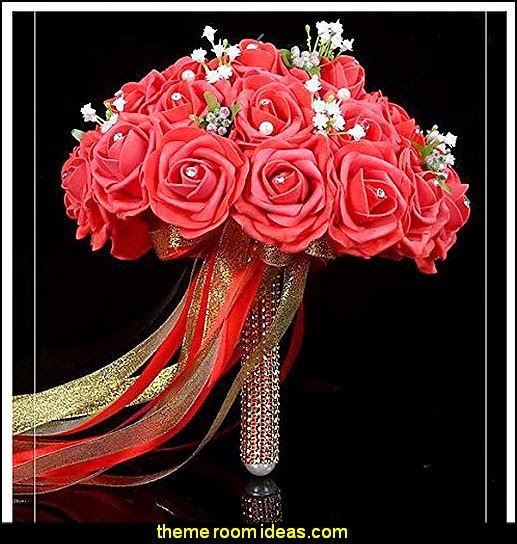 Red Rose with Pearls Bridal Wedding Bouquet