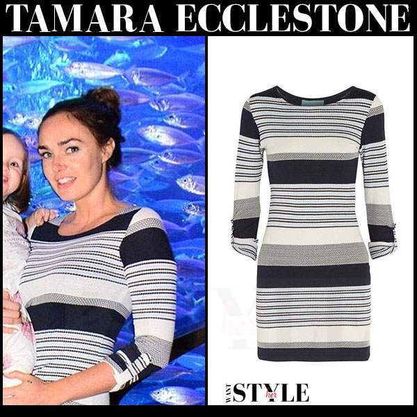 Tamara Ecclestone in striped navy and white mini dress melissa odabash maddie what she wore dubai
