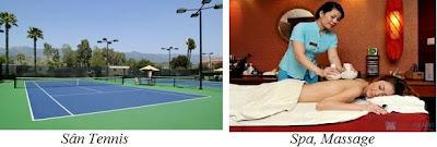 Sân tennis và phòng massage