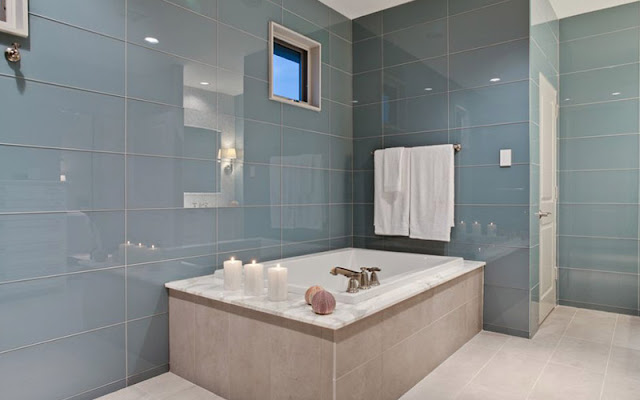 Large glass tile in bathroom