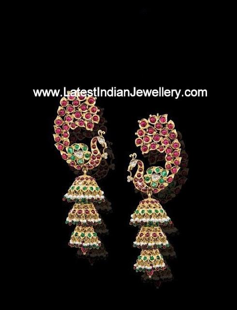 Peacock Design Ruby Jhumkas