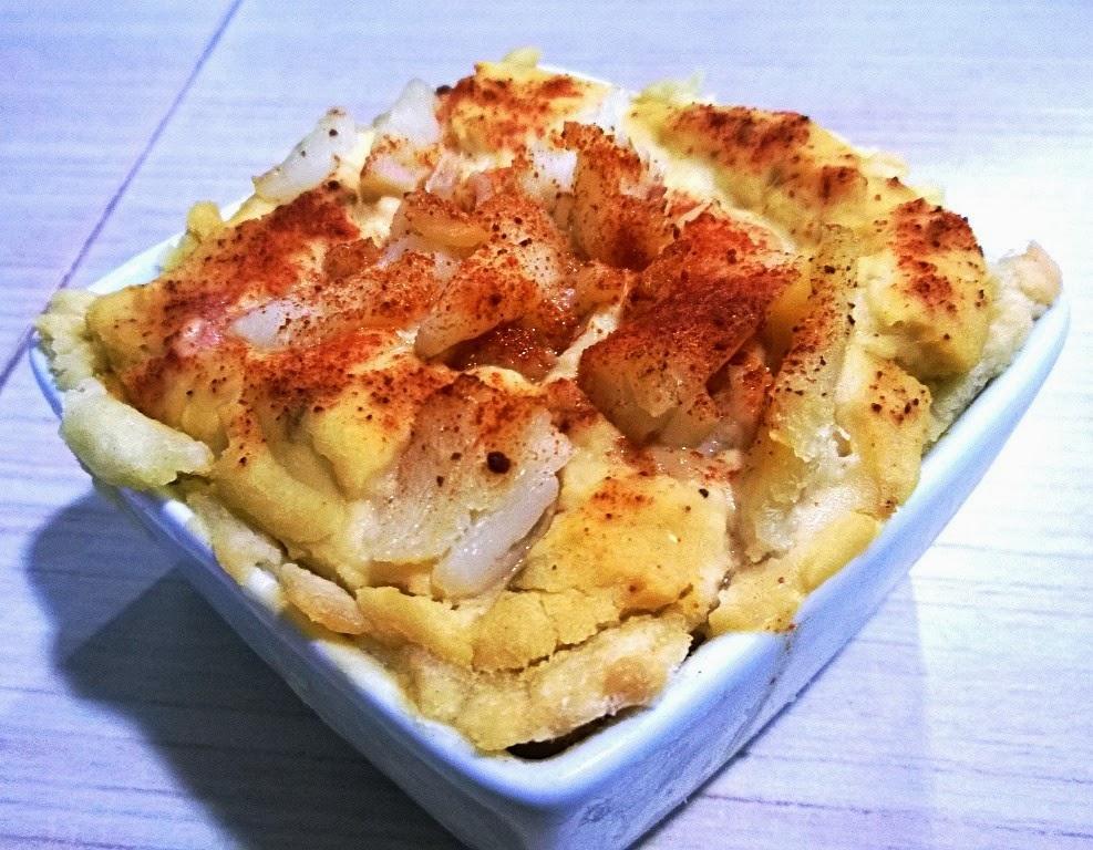 Tartaletas de hummus con bacalao