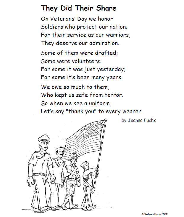 for Veterans' Day, teachers! That means it's about time for a poem ...