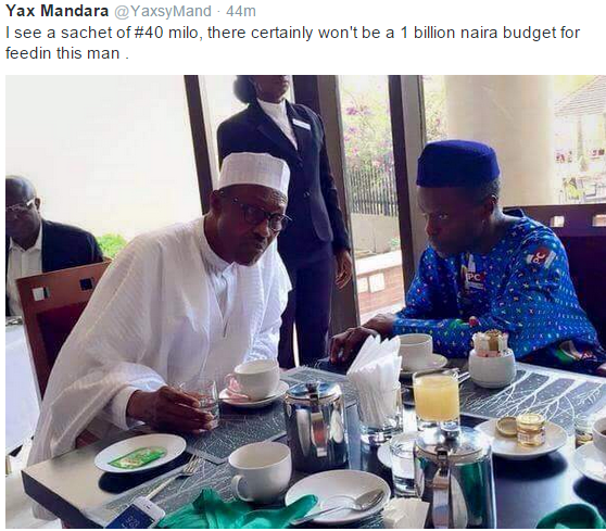 Buhari, Osinbajo & A Sachet Of N40 Milo Seen Having Breakfast :-)
