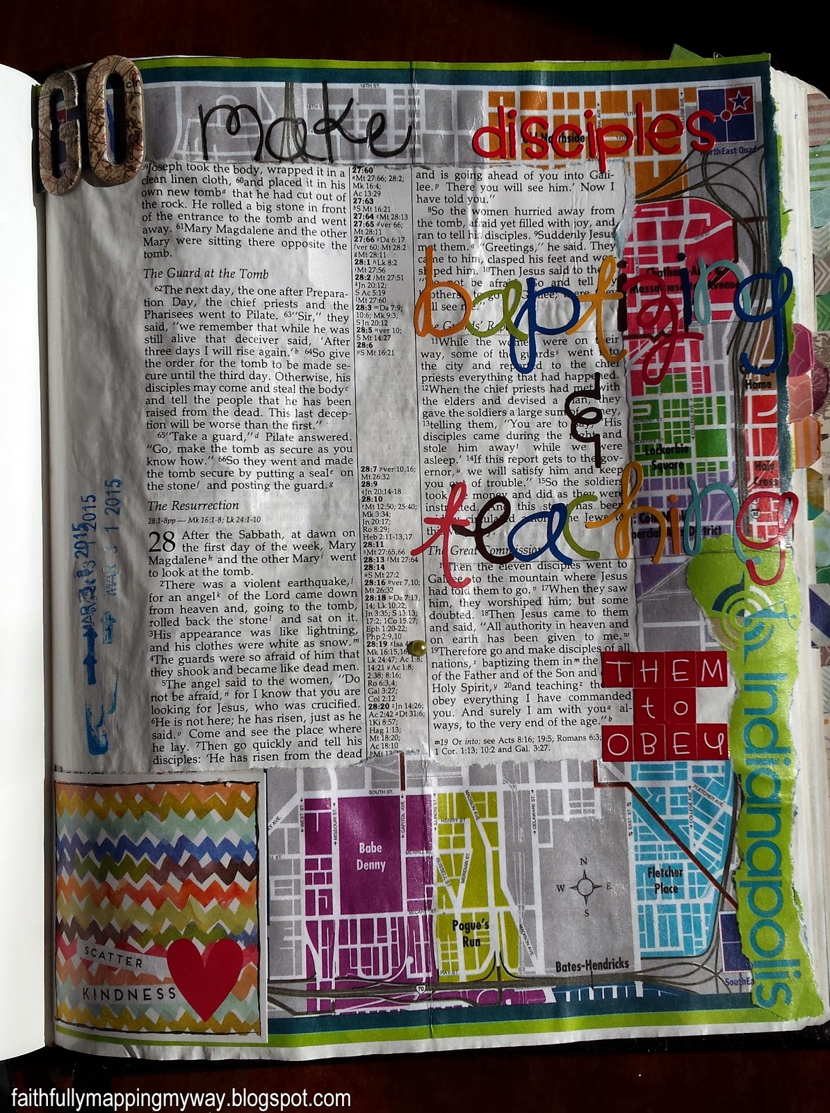 Art journaling Bible page inspired by the Great Commission with a map and stickers.