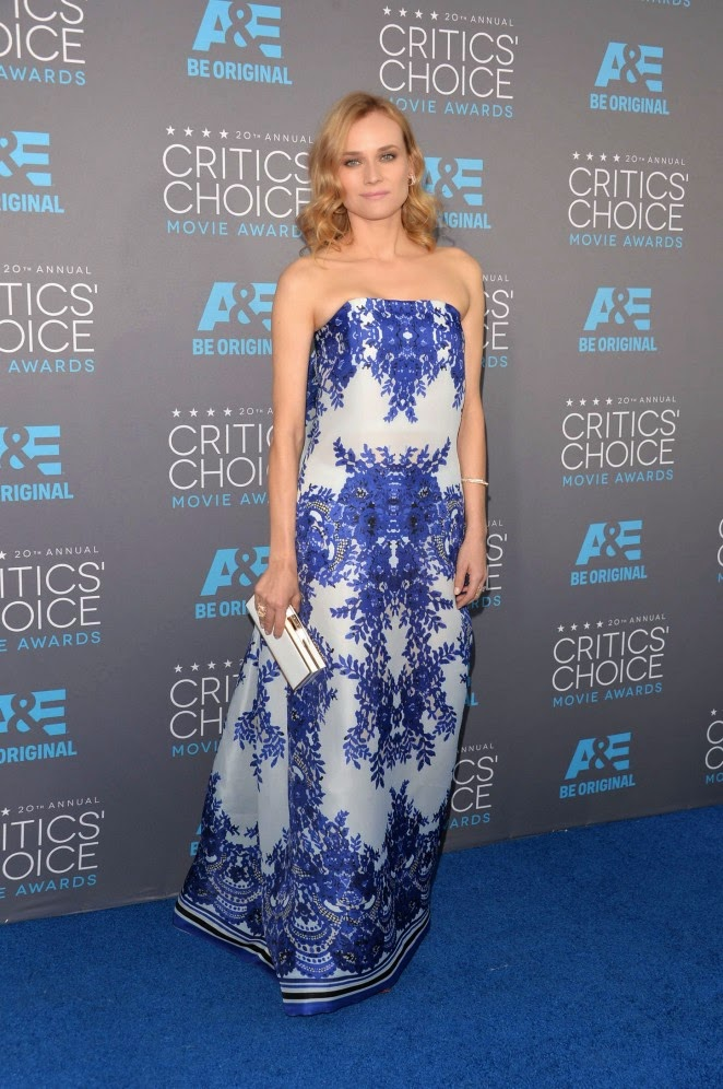 Diane Kruger in a strapless Naeem Khan gown at the 2015 Critics' Choice Movie Awards