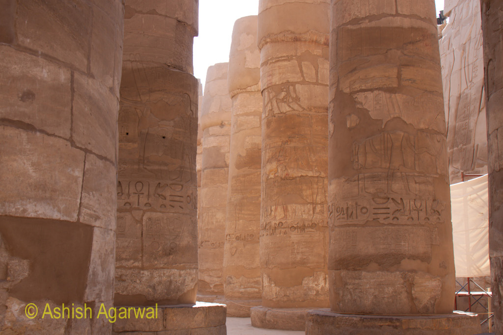 View of the huge bases of the pillars in the Hypostyle Hall at Karnak