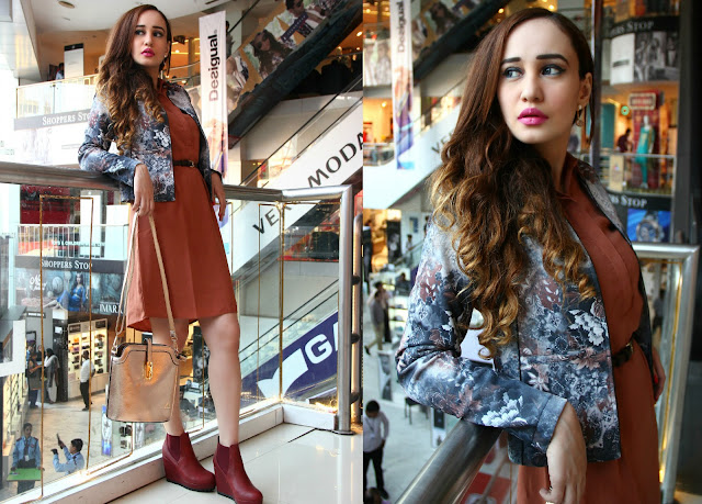 Femina FLAUNT Launch '15 at Shoppers Stop, Tan Dress, Floral Scuba Jacket, burgundy wedge ankle boots,metallic handbag