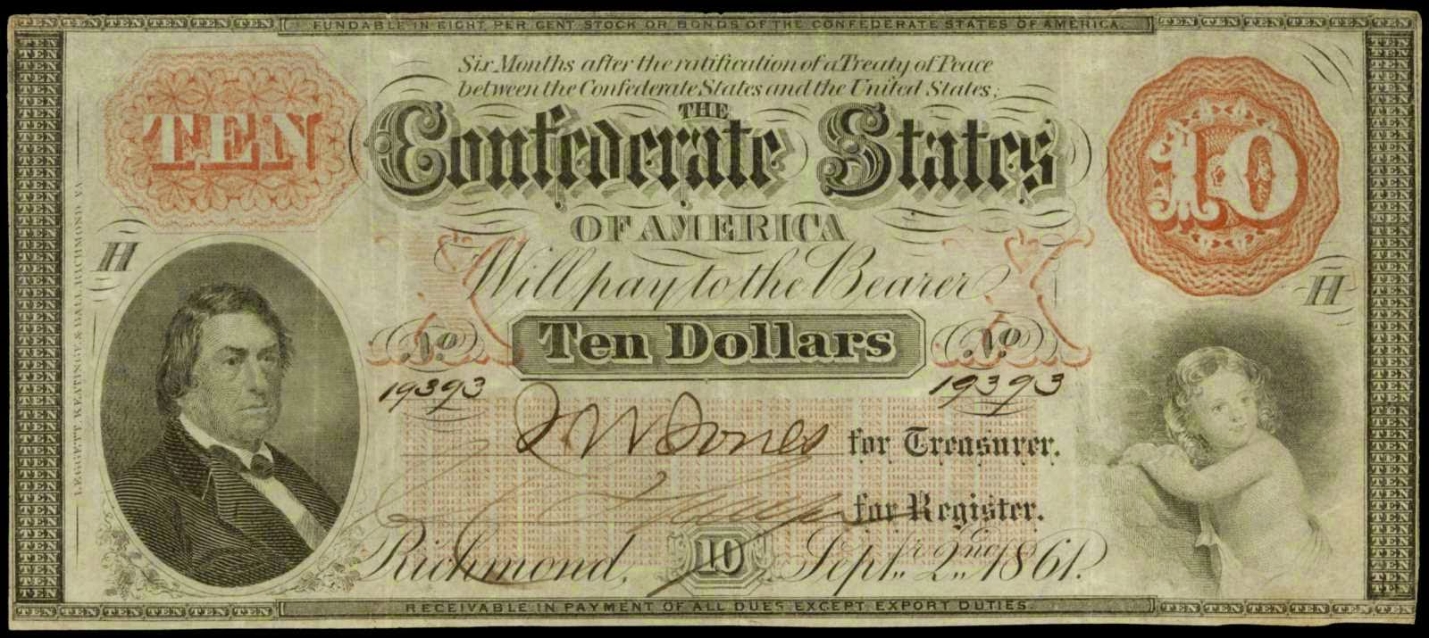 Confederate Currency 1861 10 Dollar Bill