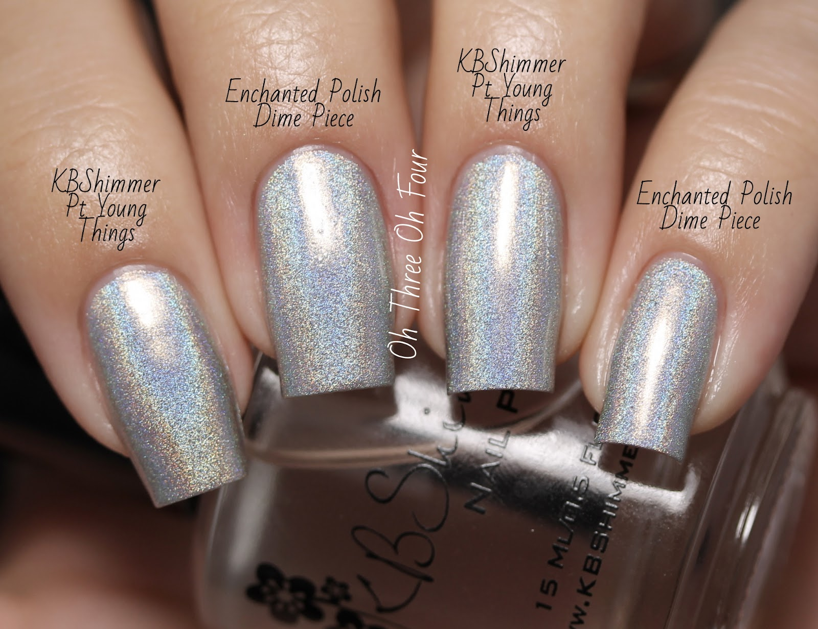 KBShimmer Pt Young Things vs Enchanted Polish Dime Piece