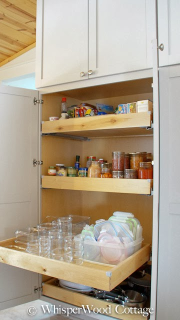 WhisperWood Cottage Functional Kitchen Cabinet Storage Ideas
