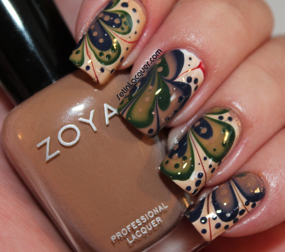 Water marble nail art with Zoya