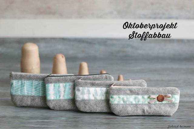 Oktoberprojekt Stoffabbau Wollfilz Kosmetiktäschchen grau türkis