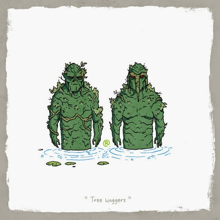 Swamp Thing and Man Thing chilling in the swamp.
