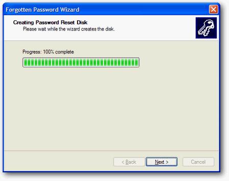 Proses pembuatan password reset disk