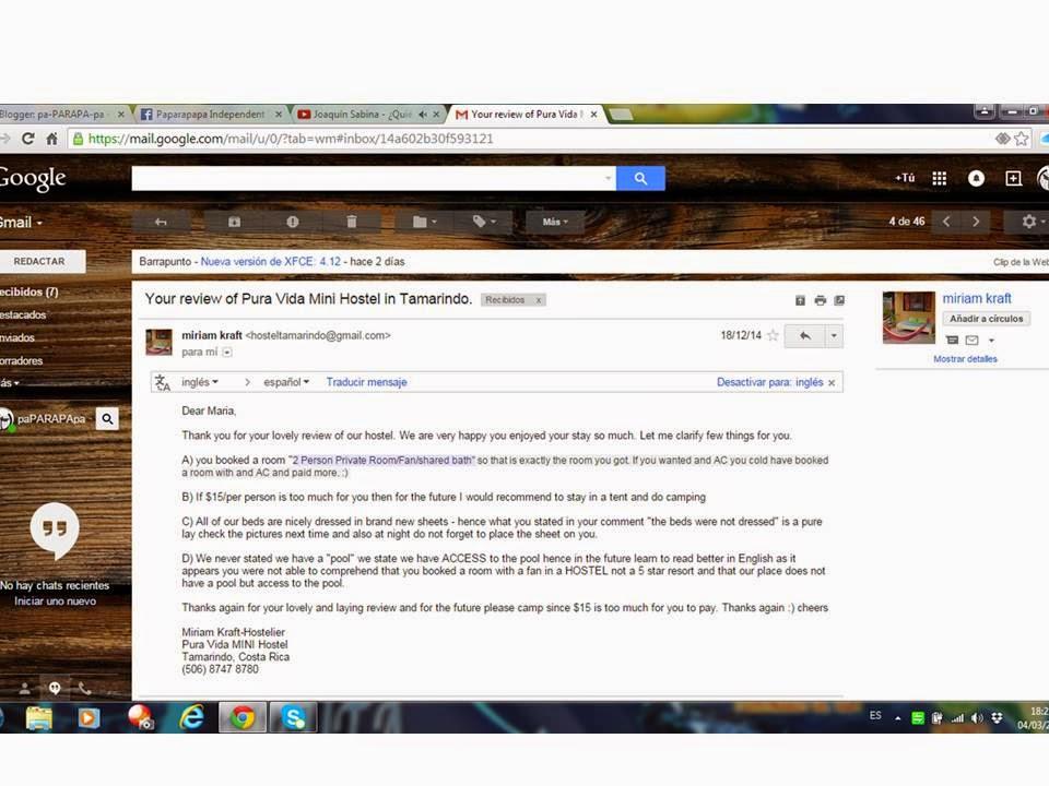 Carta insultante de la propietaria de Pura Vida Mini Hostel en Tamarindo, Costa Rica.