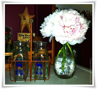 Vintage Cream Bottles and Peonies