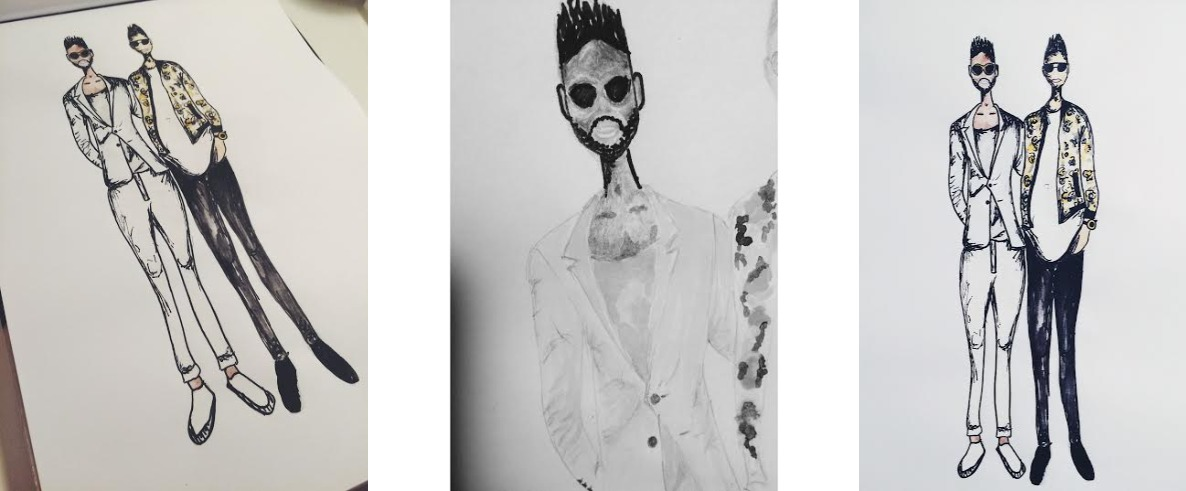 tinie tempah lewis hamilton fashion illustration style art drawing sketch painting