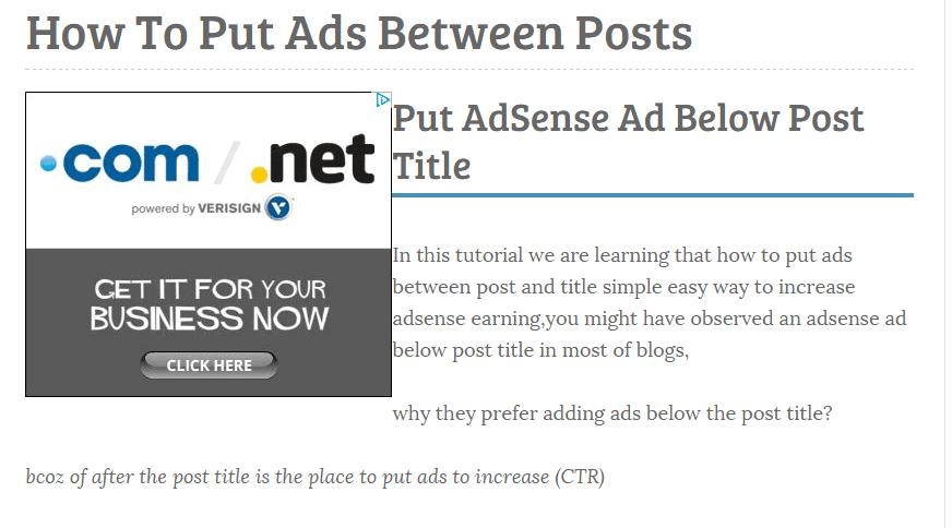 Put AdSense Ads Left Side