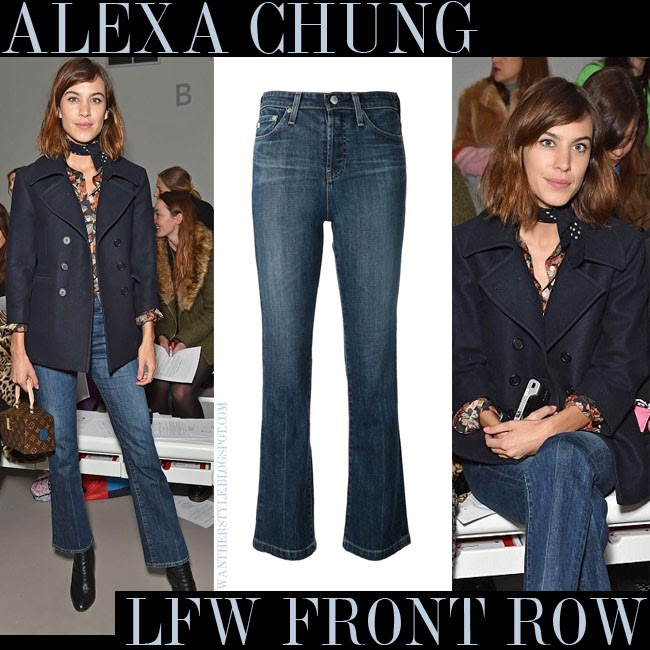 Alexa Chung in blue denim flared jeans AG JEANS THE REVOUTION and blue peacoat  lfw front row want her style