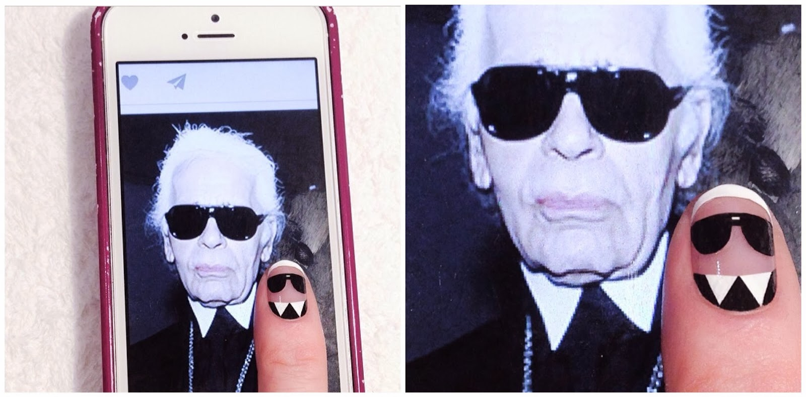 Karl Lagerfeld Nail Art by Madeline Poole.