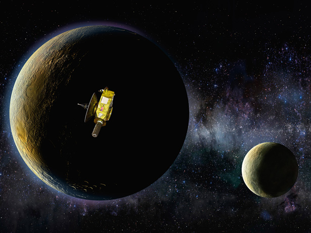 Art depicting the New Horizons spacecraft as it passes Pluto