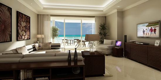 Apartment interior with view of the Caribbean Sea and Seven Mile Beach