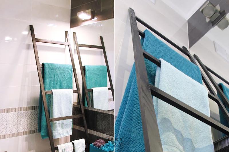 wieszak na ręczniki, drabina DIY