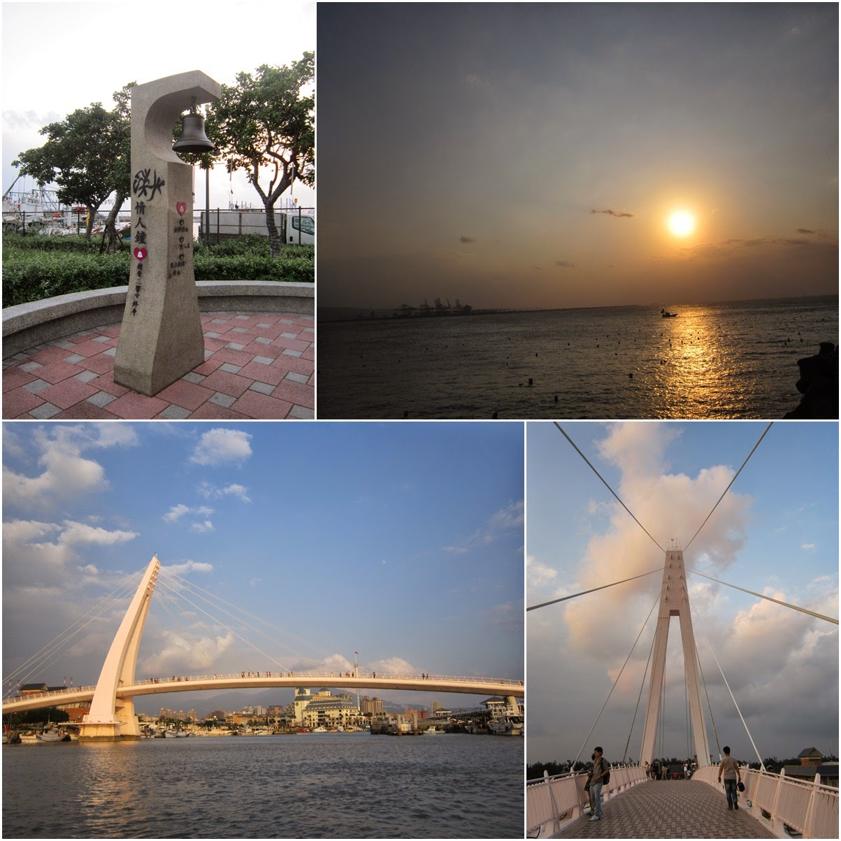 Watching Sunset at Lover Bridge at Tamsui Fisherman's Wharf in Taipei, Taiwan
