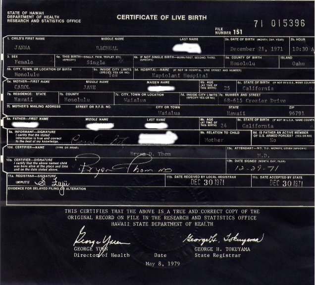real birth certificates  my real birth certificate hawaii