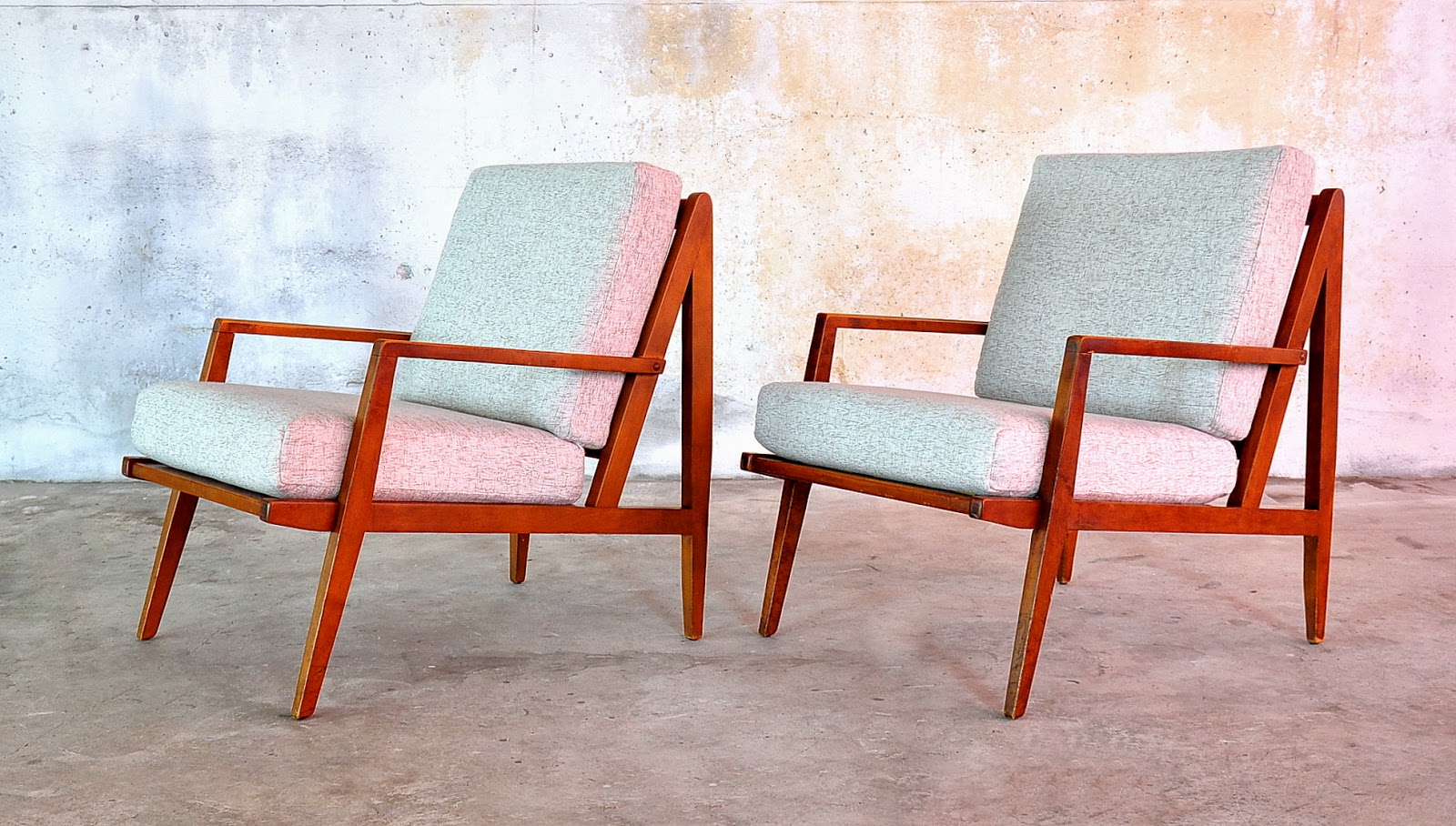 select modern pair of danish modern lounge chairs