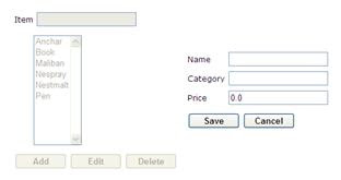 Figure 16: JSF Demo - Modify mode after clicking Add button
