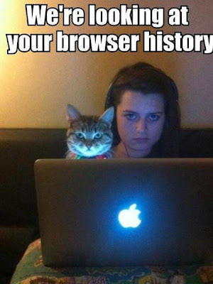 Cat and girlfriend says, we're looking at your browser history.