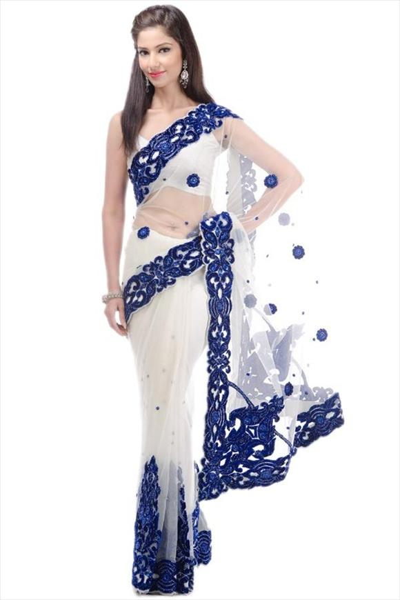 Pearl White Net Saree