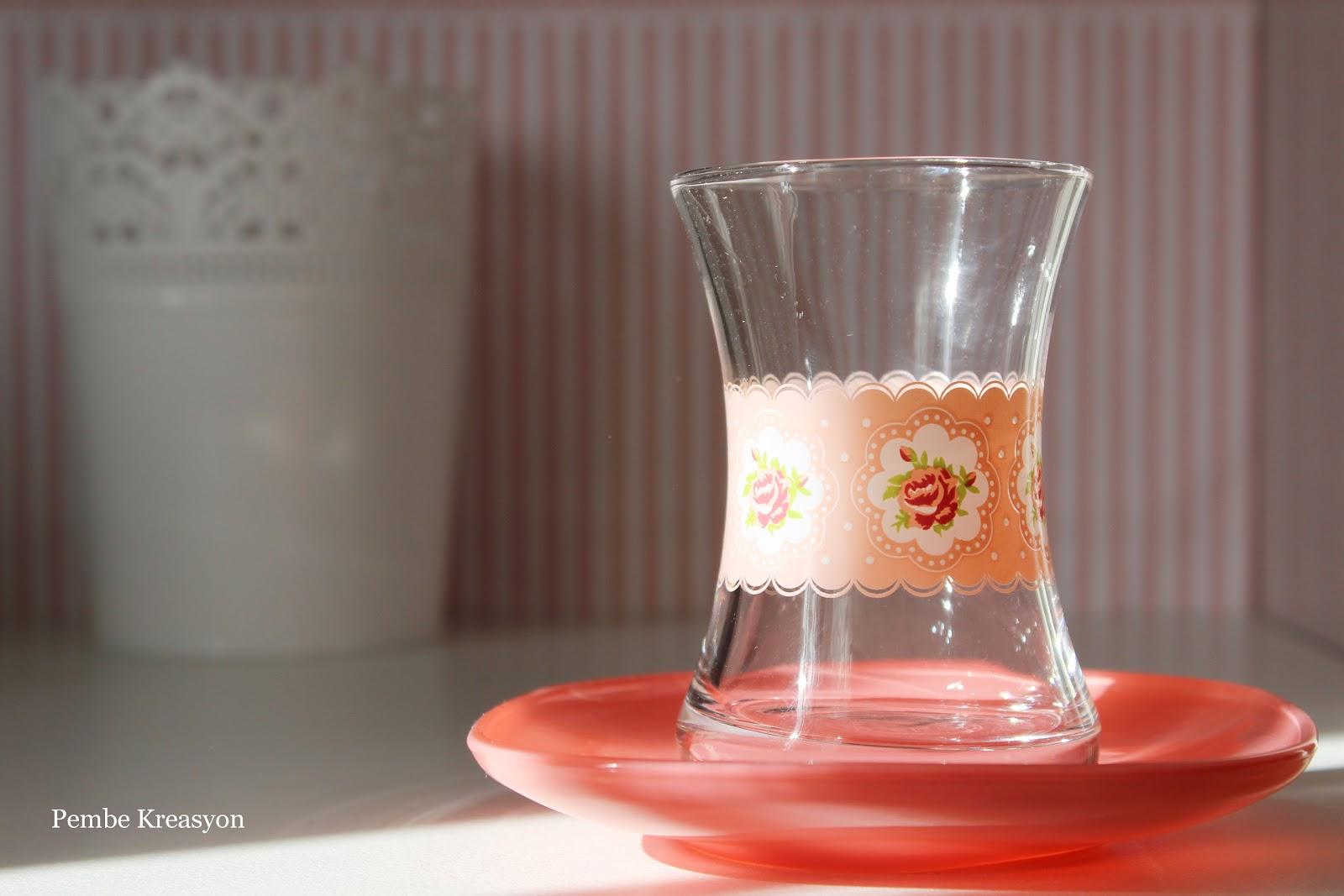 shabby chic tarzı nedir? laz gül desenli çay bardağı seti, çeyiz bloğu