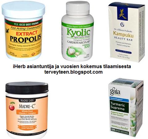 iHerb tuotesuositukset. Propolis, valkosipuli, saippua, c-vitamiini ja inkivääri
