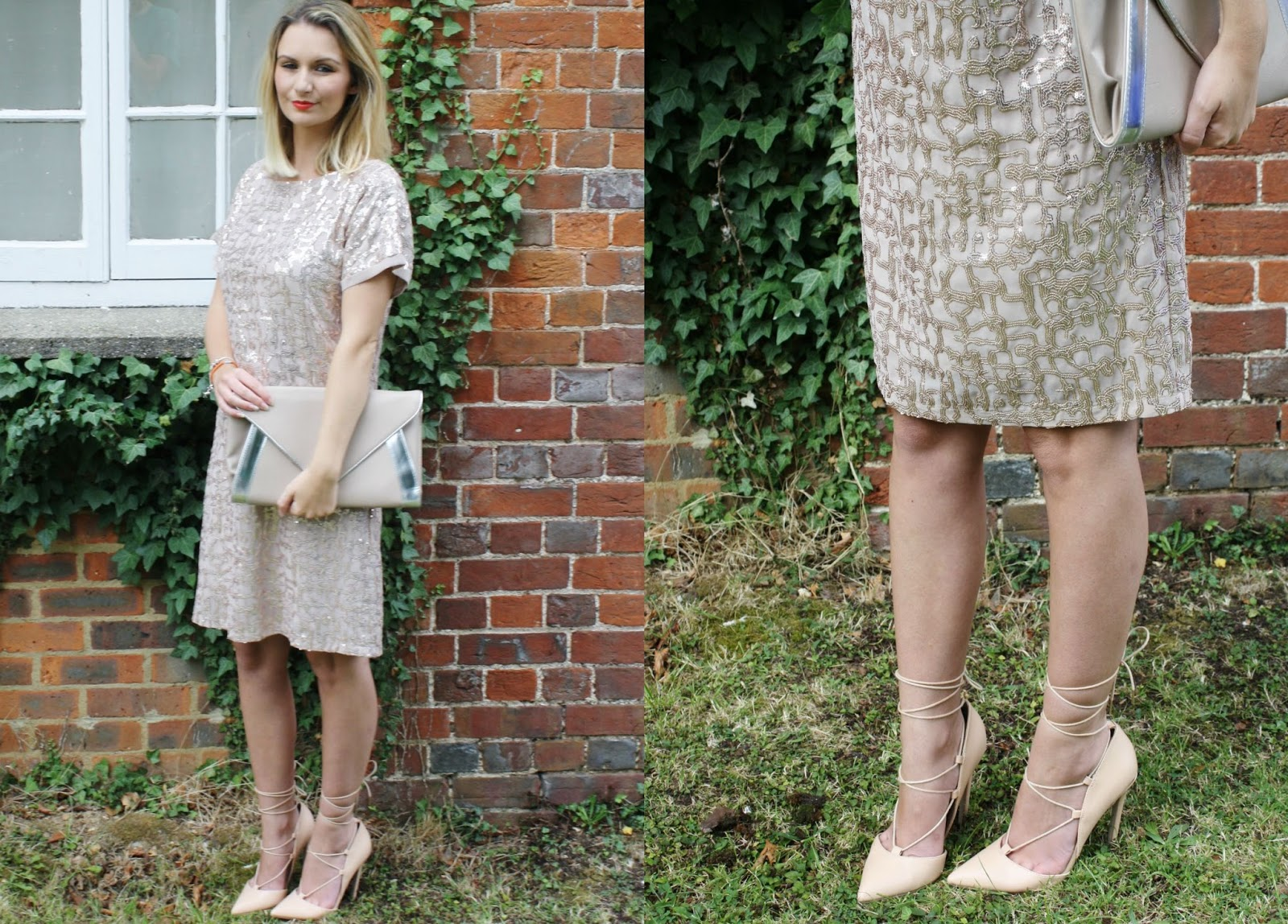 wedding guest outfit inspiration of nude colour palette