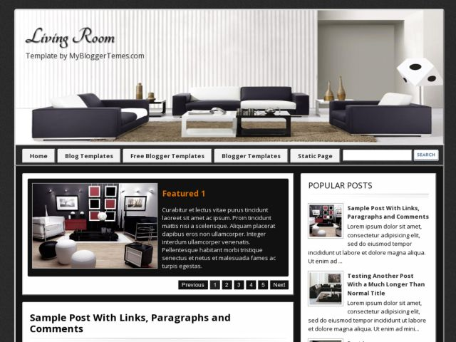 Living Room Free Blogger Template