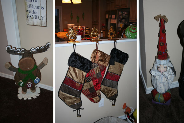 living room decor a moose holding joy stockings and a country santa we have huge stockings love it they were from hobby lobby last year - Hobby Lobby Christmas Stockings