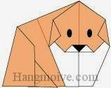 Bước 12: Vẽ mắt, mũi để hoàn thành cách xếp con chó Akita Inu bằng giấy theo phong cách origami nghệ thuật.