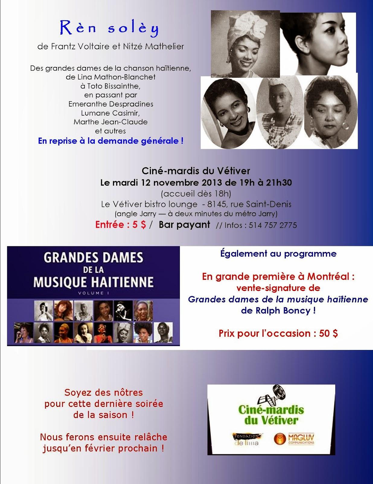 Haïti Chérie: Ciné-mardi Du 12 Novembre : Hommage Aux