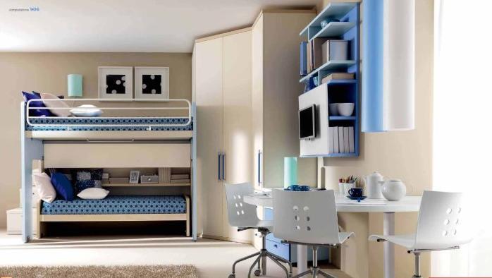 Dormitorios para dos ni os con camas litera dormitorios - Literas para ninos espacios pequenos ...