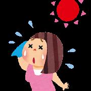 夏バテのイラスト「汗だくの女性」