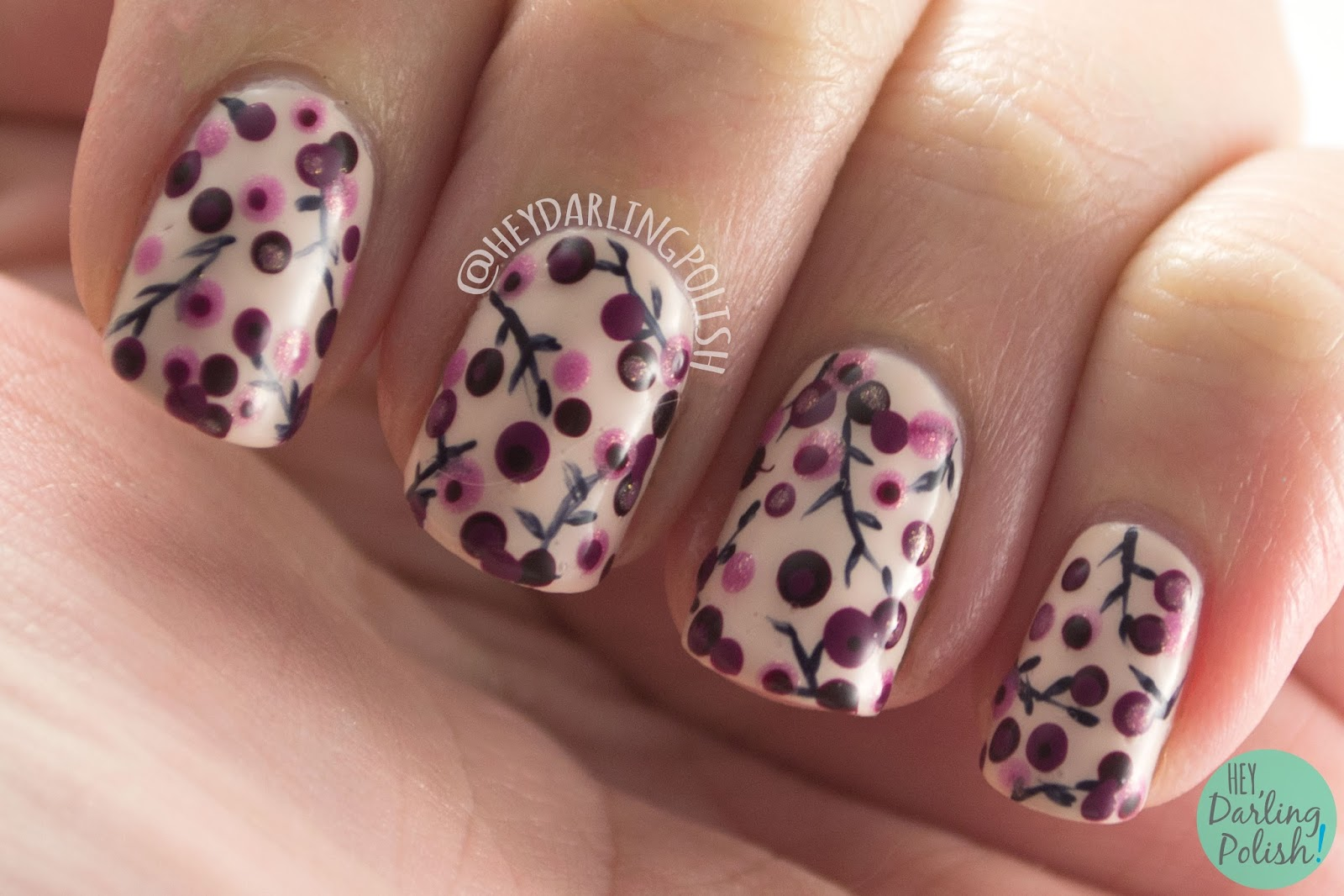 nails, nail art, nail polish, flowers, floral, hey darling polish, polka dots, dotting tools, 31 day challenge 2015,
