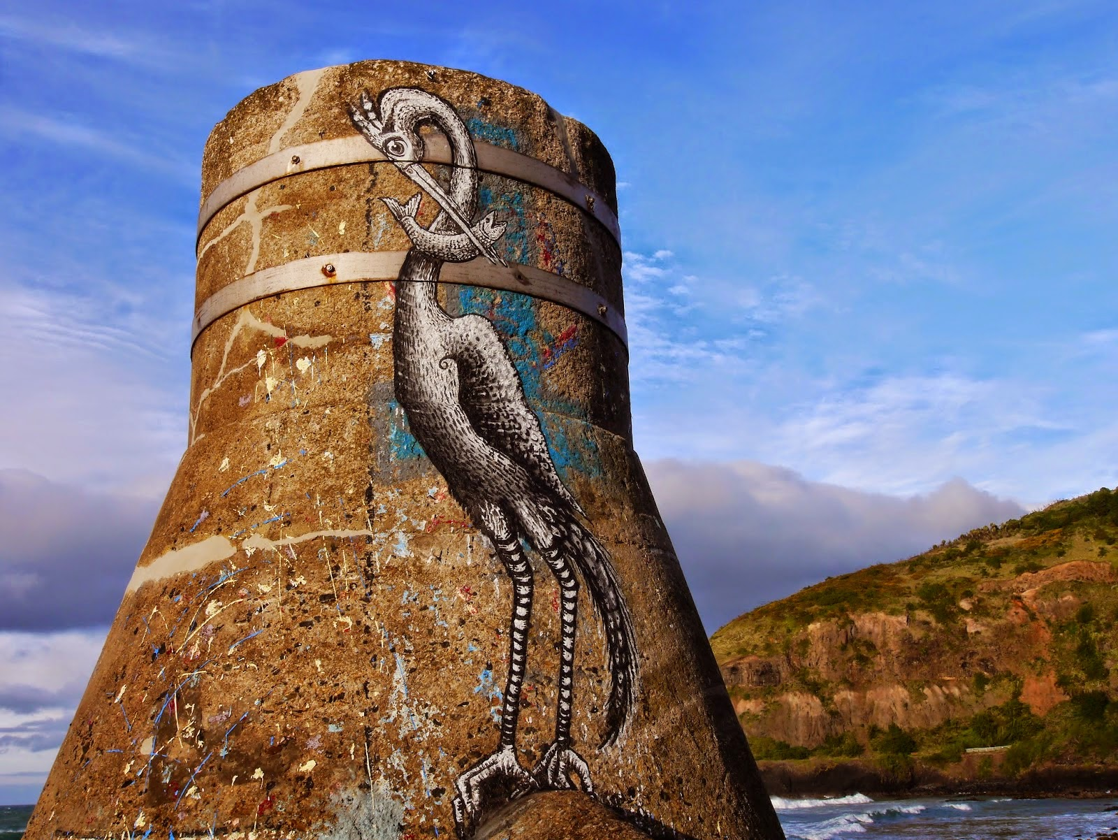 Before leaving New Zealand, Phlegm managed to drop a quick piece on the Second Beach in Saint Claire, Dunedin.